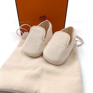 Authentic Hermes Newborn Baby First Shoes Beige